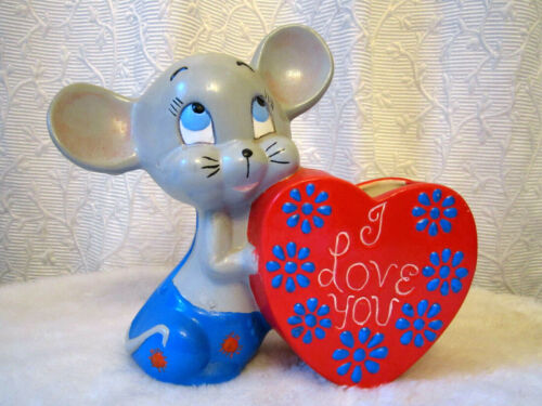 VINTAGE MOUSE HEART I LOVE YOU PLANTER CERAMIC MID CENTURY  RETRO HAND PAINTED