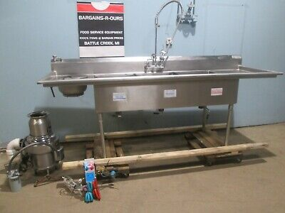 M E Hd Commercial Nsf 100l 3 Compartment Ss Sink Werator Rinse Sprayer