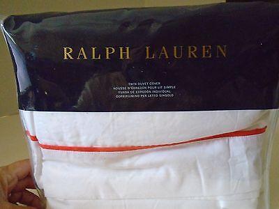 Ralph Lauren Home Palmer Perkal Twin Bettbezug Weiß Orange Neu (Orange Bettbezug Twin)