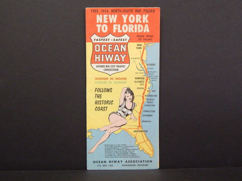 Travel Map, 1956, New York to Florida