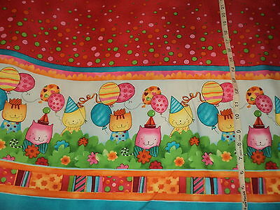 NEW Happy Birthday Cats With Balloons Double Border 100% Cotton By 1/2 Yard