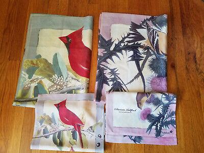 Set of 4 Audubon Large House  & Small Garden Flags Birs - Cardinal Goldfinch