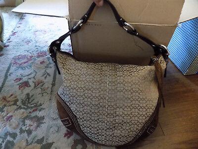 COACH Canvas Leather Suede Trim Signature Large Shoulder Bag Purse Brown Khaki