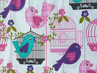 By 1/2 Yard Michael Miller Sing Song White ~ Birds Aqua Pink Purple Cage Fabric