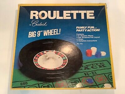 "Vintage Roulette 9"" Wheel by Crisloid No. 772 Felt Casino Mat Chips Family Fun"