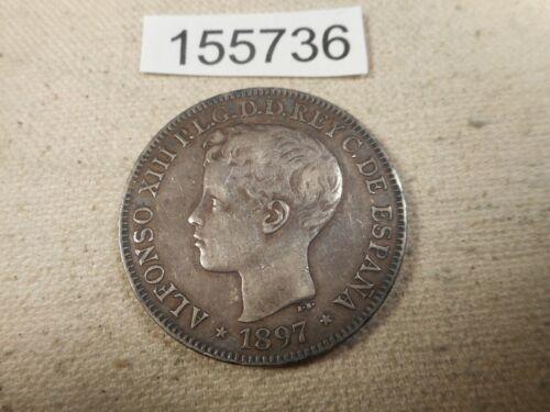 1897 SGV Philippines One Peso Very Nice Collector Grade Album Coin - # 155736