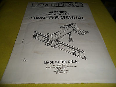 Drawer 15 Land Pride 45 Series Rear Blade Owners Manual