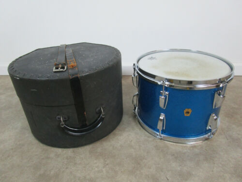 """Vintage Ludwig Super Classic 9x13"""" Mounted Tom in Blue Sparkle with case"""