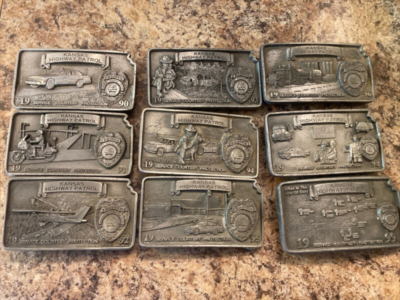 Lot Of 9 Kansas Highway Patrol State Trooper Belt Buckle Collection  Numbered