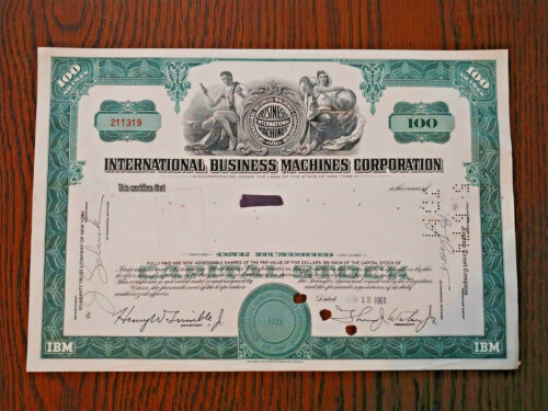 IBM STOCK CERTIFICATE 1961 100 SHAREs GREEN OLD STYLE,NICE VIGNETTE