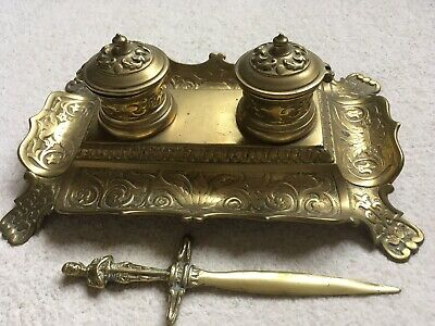 Antique Brass Double Inkwell Desk Set And Letter Opener