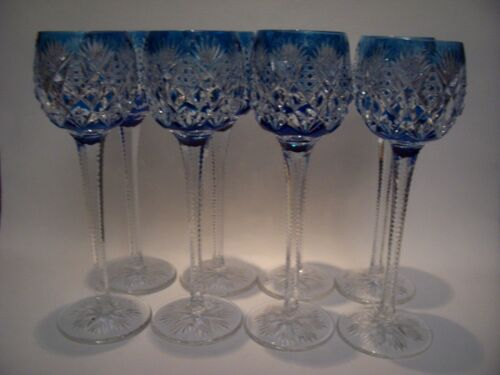 """1 SAINT LOUIS CRYSTAL """"FLORENCE"""" HOCK GOBLET TURQUOISE 9 1/2"""" MINT 8 AVAILABLE"""