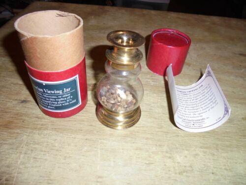 Van Cort Victorian Style Brass Magnifying Viewing Jar Original Case Seeds Grains