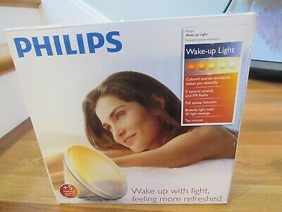 NEW PHILIPS HF3520/60 Wake-Up Light W/ Colored Sunrise Simulation White FM radio