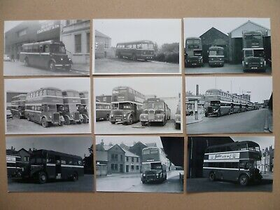 B +W PRINTS x 9: ISLE OF MAN ROAD SERVICES - VARIOUS SINGLE/DOUBLE DECKER BUSES