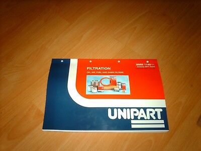 Unipart Filters Catalogue inc cross reference1969 to 2011 Oil Fuel Cabin Air