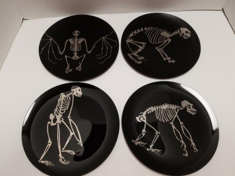 Pottery Barn Halloween Black SKELETON APPETIZER PLATES Set of 4 NIB