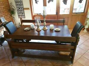 Antique Church Pew Bench Seats Dining Setting 2 Free