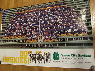 1981 U of WASHINGTON FOOTBALL TEAM POSTER-RARE - U Of Washington Football