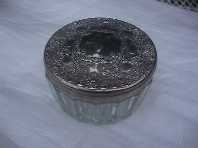 Vintage Silver Lid with Mirror Powder Jewelry Glass Vanity Dish