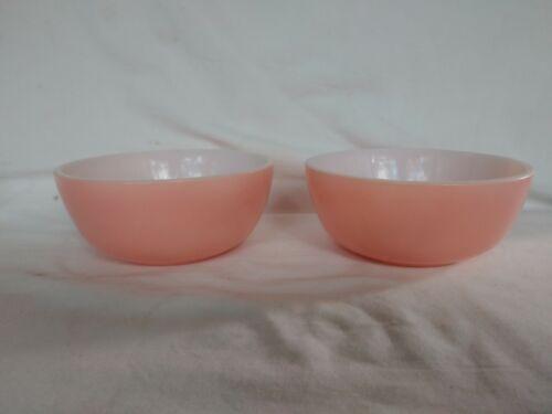 """Set of 2 Vintage Pink Cased Milk Glass Hazel Atlas 5"""" Chili Soup Cereal Bowls"""