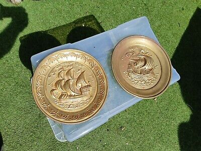 2x 10 INCHES ARTS & CRAFTS BRASS GALLEON SHIP WALL PLATES             R19