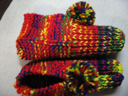 """NWOT Handmade House Slippers Red & Rainbow Colors Womans Small Mans X Sm 8 1/4"""""""