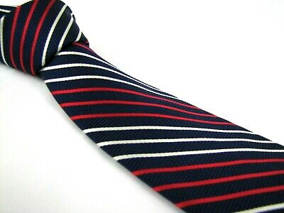 Alternating Stripe Tie - BROOKS BROTHERS Tie Navy Blue Red White Alternating Candy Track Stripe Rep Silk