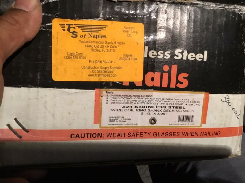 Stainless Steel Nails Wire Coil 304. 2 1/2 Inch X .99""