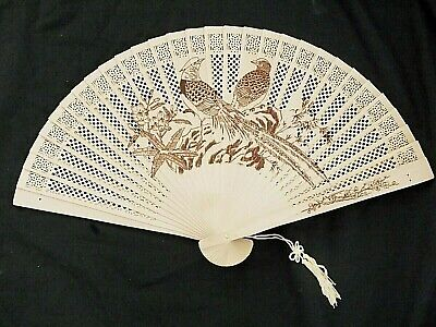 JAPANESE WOODEN LOVE BIRD FLOWER HAND FAN CHINESE WEDDING DANCE FANCY PARTY...