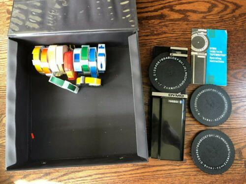 Vintage Dymo 1450 / 1470 Tapewriter Label Maker + 2 Xtra Letter Wheels + Tapes