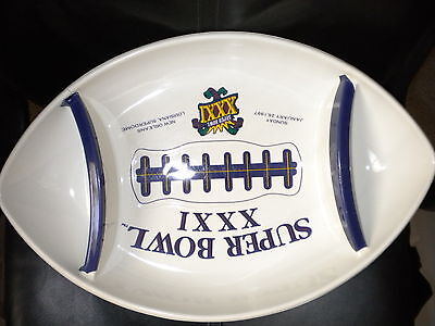SUPER BOWL XXI FOOTBALL CHIP SERVING TRAY