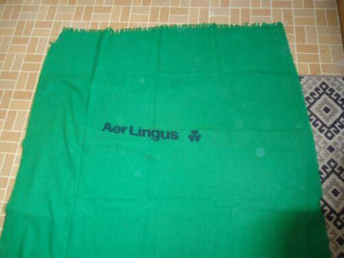 VINTAGE AER LINGUS IRELAND AIRLINE KELLY GREEN BLANKET WITH LABEL DONEGAL TWEED