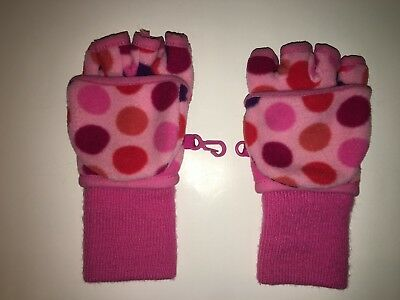 - GAP KIDS Fleece Mitten Gloves (Girl's size S(6-7)) - Pink polka dots