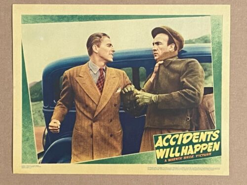 ACCIDENTS WILL HAPPEN '38 RONALD REAGAN PUNCHES BAD GUY ULTRA RARE LOBBY CARD