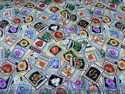 3 Yards Cotton Fabric - QT Fabrics A Gardening We Grow Seed Packets -