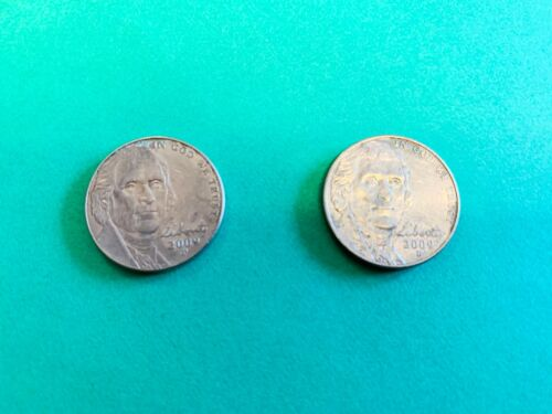 2009 P & D Jefferson Nickel Set G-VG Circulated Cond Very Low Mintage