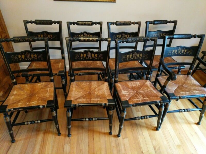Vintage Tell City Hitchcock-Style Rush Seat Stenciled Chairs  *Set of 8*