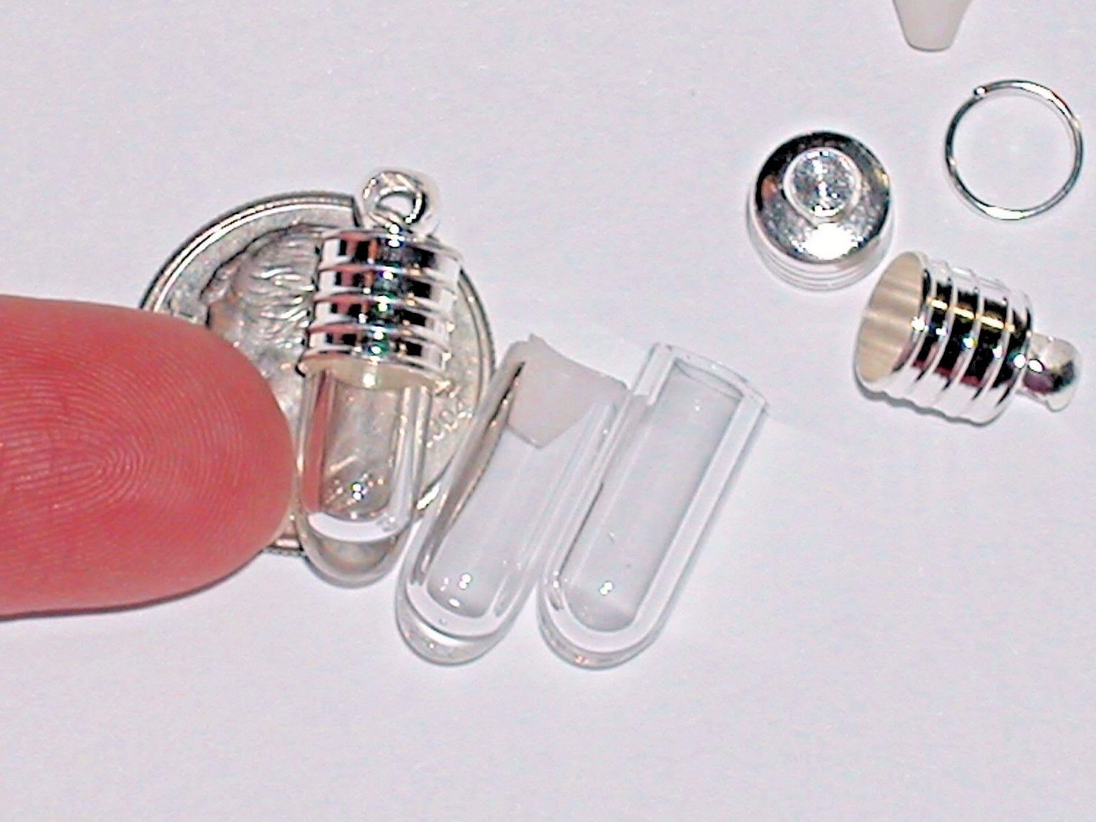 1 Tiniest Short Mini Tube Glass Bottle Vials Rice Tiny Charm Little Pendant Cap  - $4.40