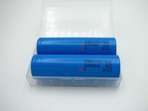 2x Samsung 50E 21700 5000mAh 9.8A flashlight 3.7V rechargeable w/ case tesla