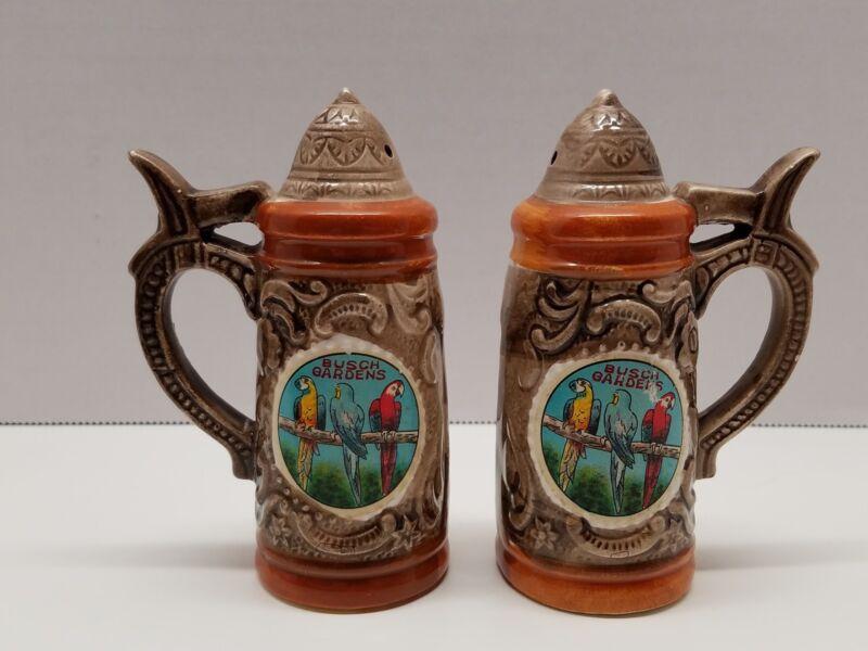 Vintage Busch Gardens FL Parrot Beer Stein Souvenir Salt and Pepper Shakers S&P