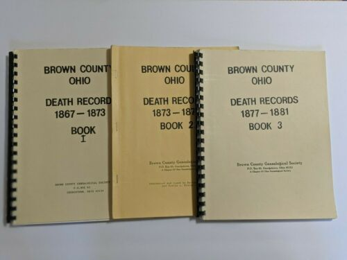 3 Books BROWN County OHIO Death Records 1867-1881 Genealogy History Family book