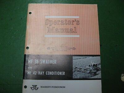 Massey Ferguson Mf36 Swather Mf42 Hay Conditioner Operators Manual Mf 36 42