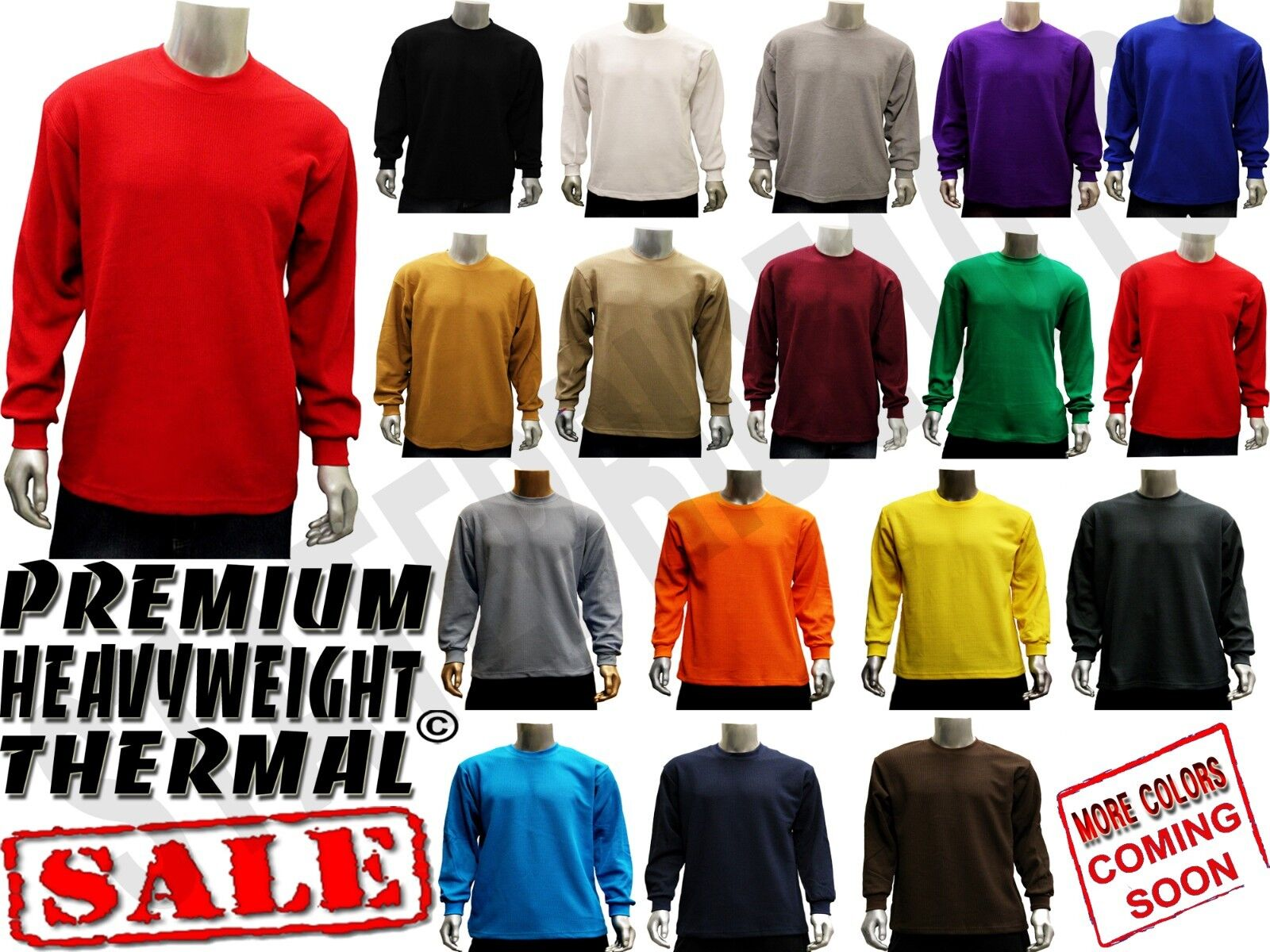 MENS NEW HEAVYWEIGHT PLAIN THERMAL WAFFLE LONG SLEEVE SHIRTS  COLORS SIZE S6XL