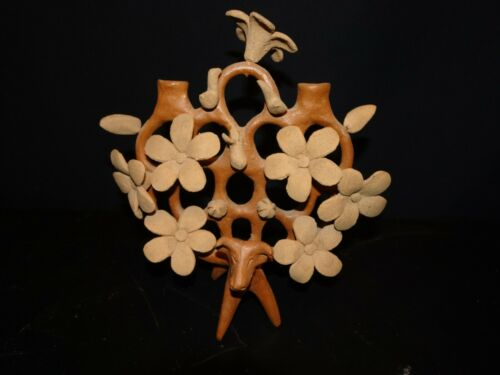 Heron Martinez Mendoza Tree of Life Candelabra Folk Art Clay Pottery Mexican