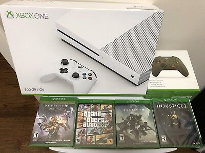 Label NEW  Sealed  Microsoft Xbox One S 500GB 4K  With 4 Games And Controller