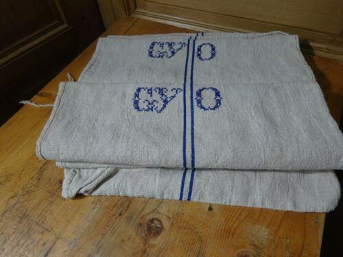 Antique European Feed Sack GRAIN SACK Monogram GYO # 10356