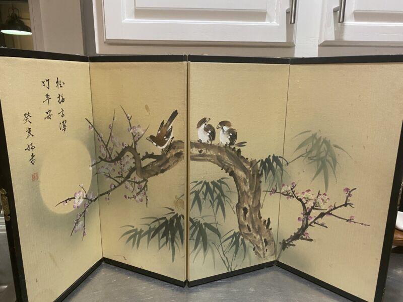Vintage Japanese Byobu Painted 4-Panel Screen
