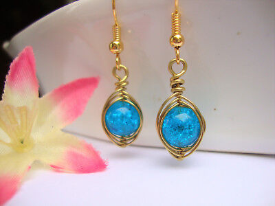 Blue Topaz Glass Earrings Gold Wire Wrapped Herringbone Style USA HANDMADE