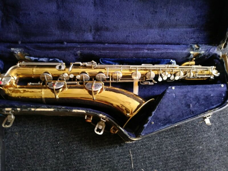 Vintage Conn baritone saxophone with sax case